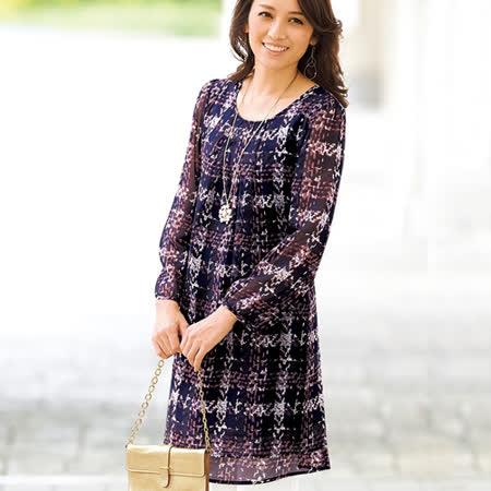 日本Portcros 預購-折縫九分袖雪紡印花長版上衣(共七色)
