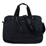 agnes b. 雙槓金屬LOGO尼龍旅行袋(大/黑)