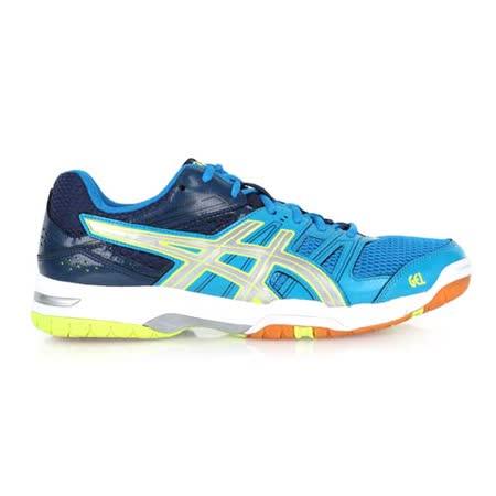 (男) ASICS GEL-ROCKET 7 排球鞋-羽球鞋 亞瑟士 藍螢光綠銀