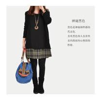 【Maya 名媛】(s-2xl)秋冬假二件式小清新氣質不敗格紋圓領洋裝 連衣裙-黑3色