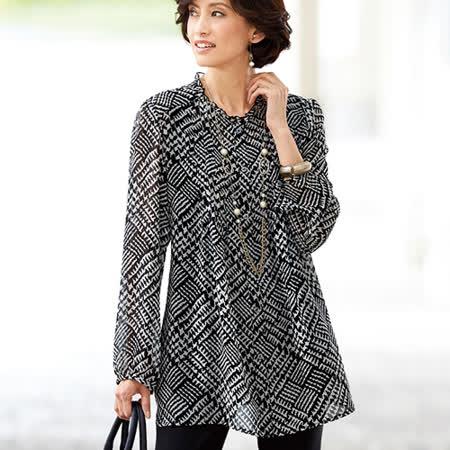 日本Portcros 預購-褶邊領雪紡長版上衣(M-3L共五色)