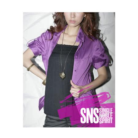 獨身貴族 SNS高貴緞面袖扣款襯衫(共三色)-紫紅