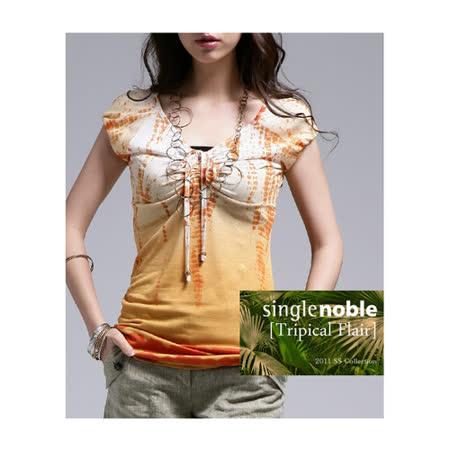 獨身貴族 印染風采 抓皺花紋上衣 (共一色)-橙花