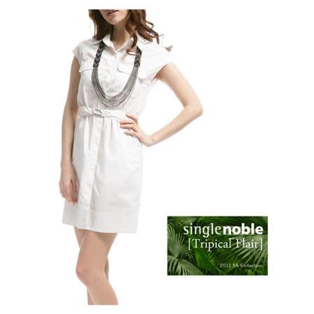獨身貴族 優雅好質 硬挺布料襯衫式短袖洋裝(共二色)-豆漿白
