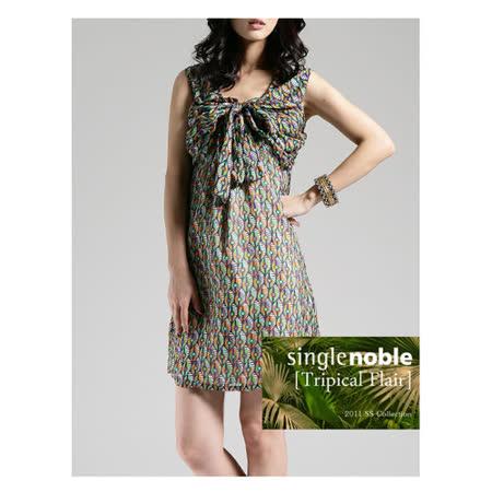 獨身貴族 美麗獨有 大蝴蝶結圓領無袖洋裝(共二色)-藍綠花