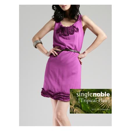 獨身貴族 輕柔感迷人碎花無袖小洋裝(共二色)-深紫紅