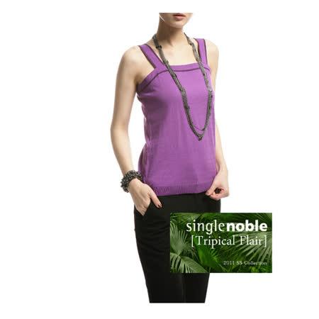 獨身貴族 春夏必備 肩帶一字領針織上衣(共四色)-幻影紫