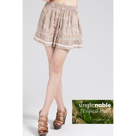 獨身貴族 復古莊園花紋短褲(共二色)-淡綠色