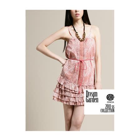 CHICA 細肩帶蛋糕裙擺花花洋裝(共二色)-粉色花