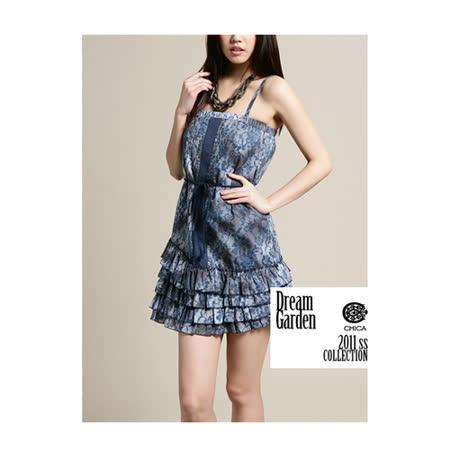 CHICA 細肩帶蛋糕裙擺花花洋裝(共二色)-藍色花