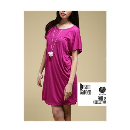 CHICA 背心式假兩件短袖洋裝(共三色)-紫色