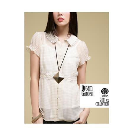 CHICA 氣質女孩小圓領格紋襯衫(共二色)-卡其格