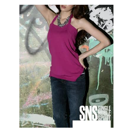 SNS 簡約素面 繞頸綁帶 露背針織上衣(共二色)-紫色