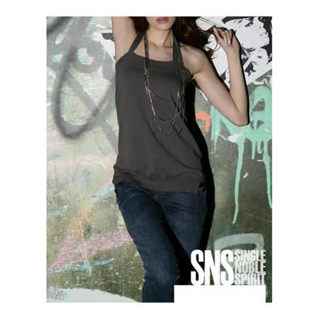 SNS 簡約素面 繞頸綁帶 露背針織上衣(共二色)-炭灰