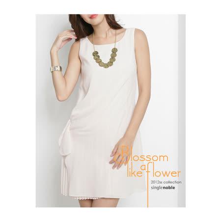 獨身貴族 典雅系 抓皺設計感小百褶洋裝(共三色)-乳白