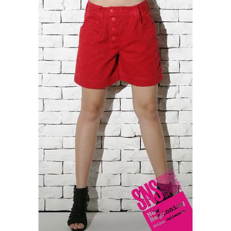 SNS 硬派時尚 排釦短褲(共二色)-紅色
