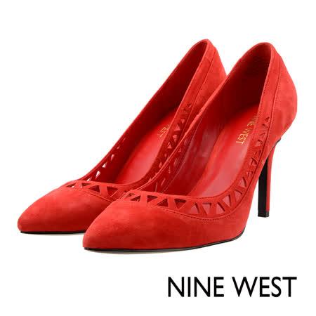 NINE WEST--初秋性感切割鏤空高跟鞋--魅惑紅