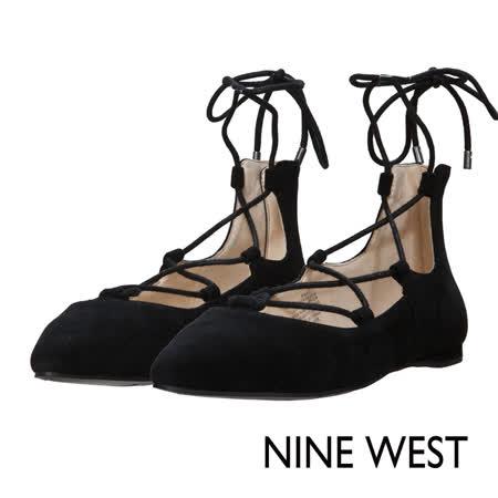 NINE WEST--優雅氣質綁帶平底鞋--優雅黑