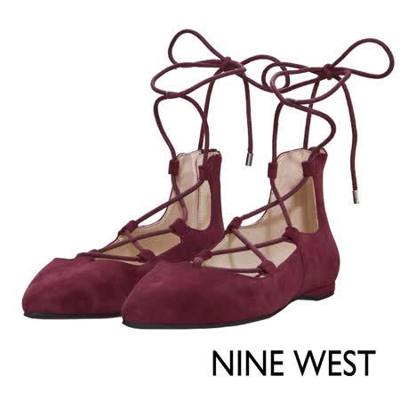 NINE WEST--優雅氣質綁帶平底鞋--氣質酒紅