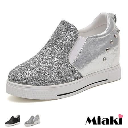 【Miaki】休閒鞋韓劇金蔥鉚釘內增高厚底包鞋 (灰色 / 黑色)
