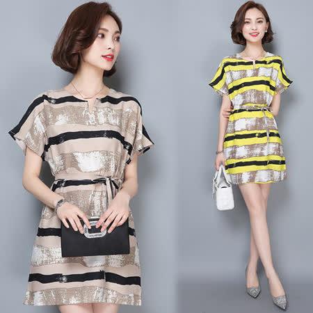 【韓國KW】隨心百搭條紋寬鬆連身裙