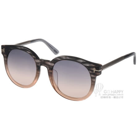 TOM FORD 太陽眼鏡  經典T字圓框貓眼款(漸層黑棕) #TOM0435F 20B