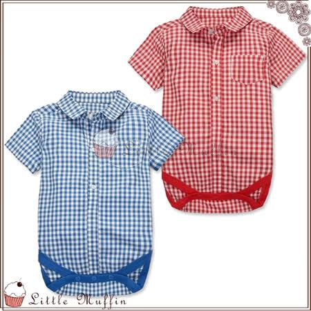 包屁衣 襯衫式短袖格子連身哈衣 100%純棉 透氣舒適 紅/藍