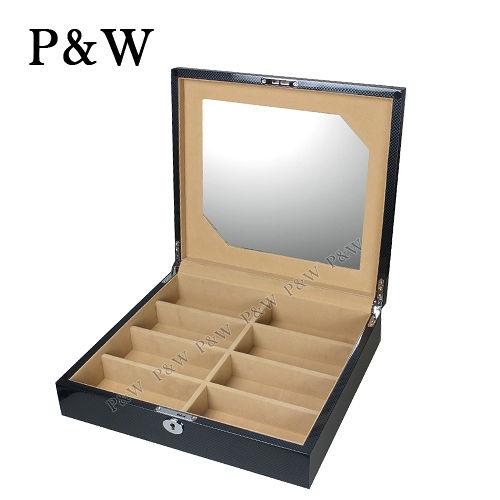 【P&W眼鏡收藏盒】【手工精品】 碳纖維紋 木質鋼琴烤漆 8只裝眼鏡盒