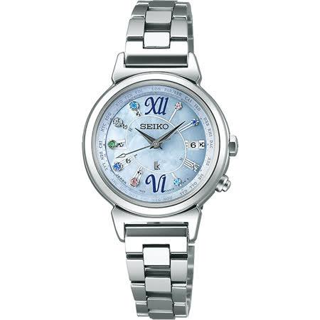 SEIKO LUKIA 美好時光限量太陽能電波腕錶-藍/28mm 1B25-0AF0B(SSVV023J)