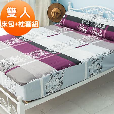 J-bedtime【優雅嫚花】活性印染柔絲絨雙人床包+枕套組