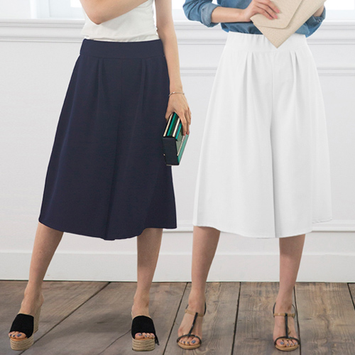 Portcros ~優雅折縫 褲裙五分寬褲^(藏青色LL^)