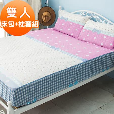 J-bedtime【心動】活性印染柔絲絨雙人床包+枕套組