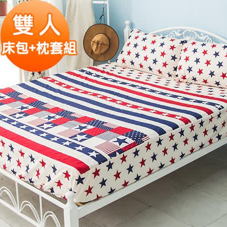 J-bedtime【歐美傳奇】活性印染柔絲絨雙人床包+枕套組