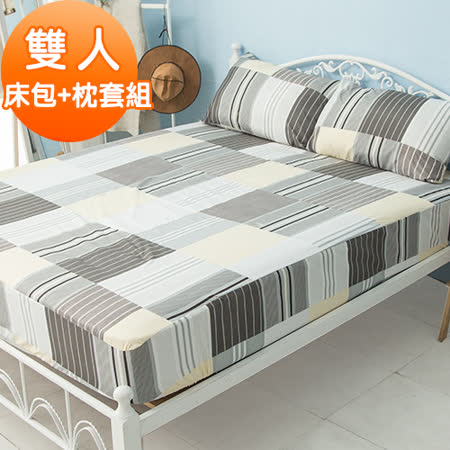 J-bedtime【紳士曲線】活性印染柔絲絨雙人床包+枕套組