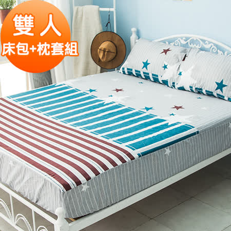 J-bedtime【夢想之星】活性印染柔絲絨雙人床包+枕套組
