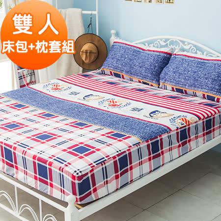 J-bedtime【巴黎格紋】活性印染柔絲絨雙人床包+枕套組