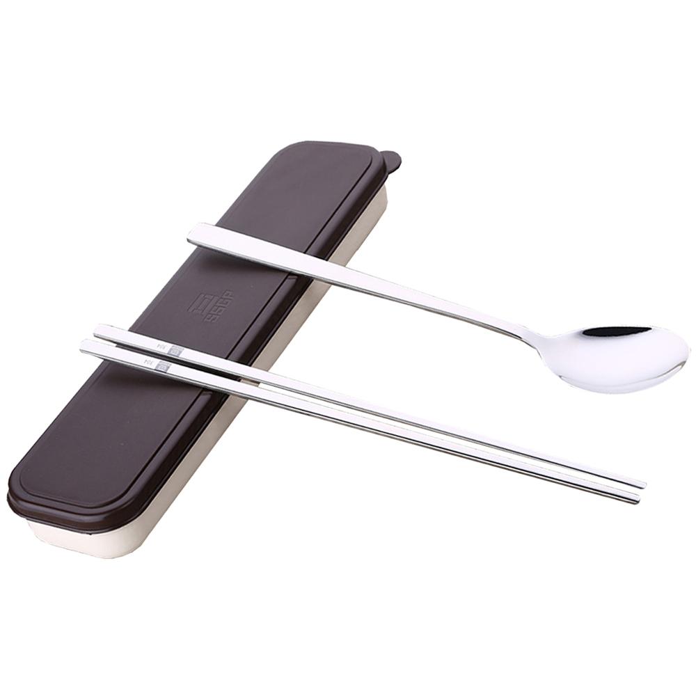 PUSH^! 304不銹鋼實心扁筷子勺子便攜餐具盒旅行筷勺套裝韓式韓國長柄E60