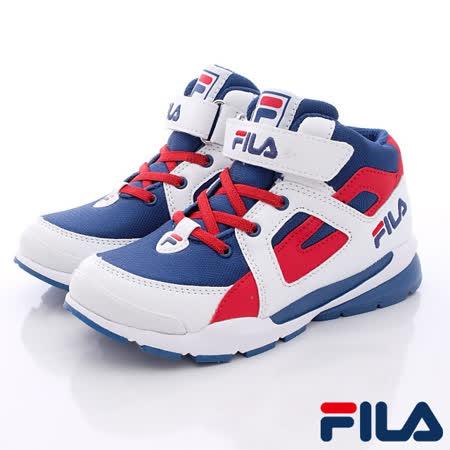 FILA頂級童鞋款-運動款籃球鞋款808Q-123藍-(20cm~24cm)