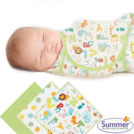 美國Summer Infant 聰明懶人育兒包巾純棉,小號3入組-字母動物園