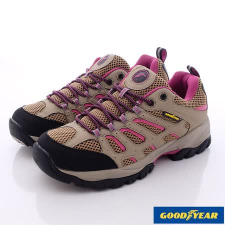 GOODYEAR戶外鞋-多功能防水戶外越野鞋(WO62503卡其桃-女款-23cm-25.5cm)