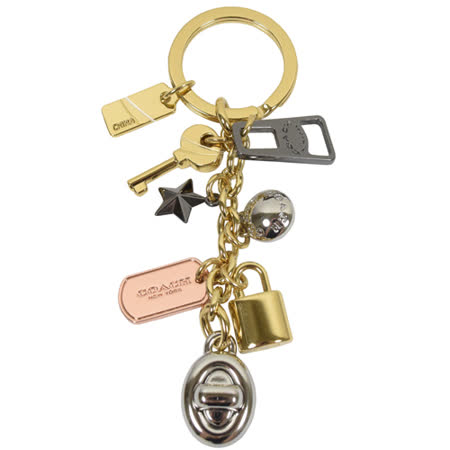 COACH 時尚配件 經典LOGO造型吊飾鑰匙圈.金