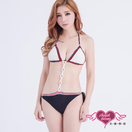 【天使霓裳】泳衣 沙灘魅力 一件式連身針織泳裝(黑白F)