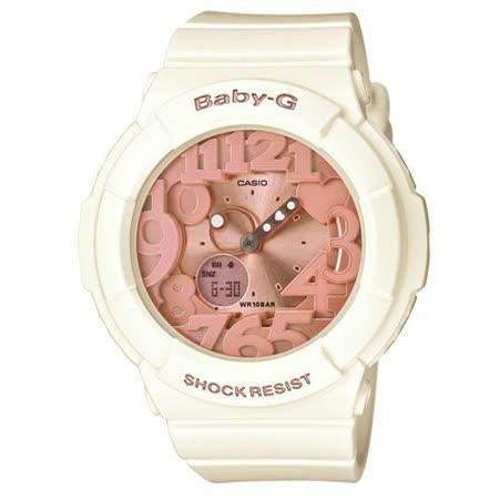 CASIO BABY-G 立體霓虹時刻休閒錶()-象牙白x玫瑰金/43.4mm