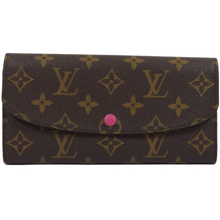 Louis Vuitton LV M41943 EMILIE 新款經典花紋扣式零錢長夾.桃紅 現貨