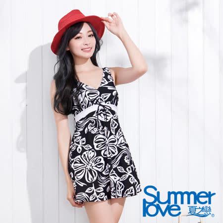 【夏之戀SUMMERLOVE】印花顯瘦連身帶裙泳衣-E13798