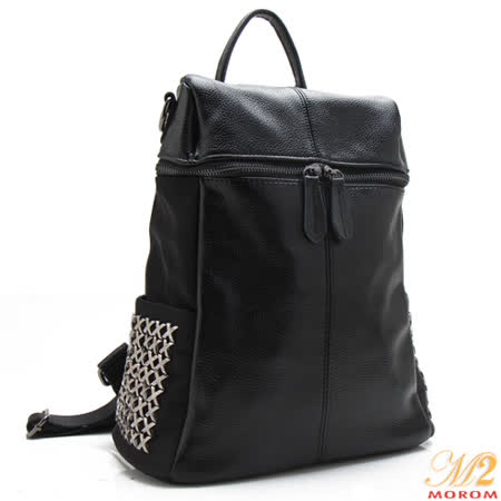【MOROM】真皮龐克釘釦後背包(黑色)new8812-s