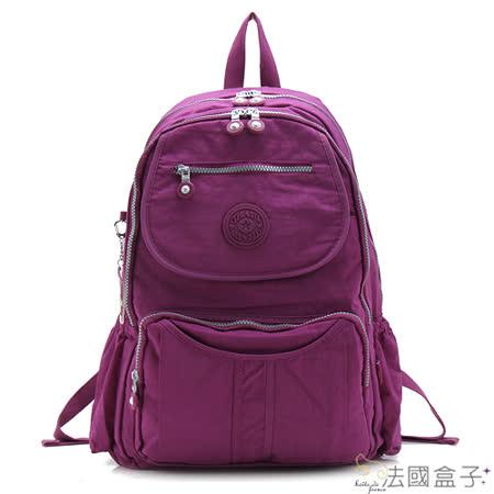 【法國盒子】休閒輕量多隔層後背包(紫紅)new1374