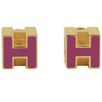 HERMES 時尚配件經典H LOGO銀飾耳環.金/紫紅