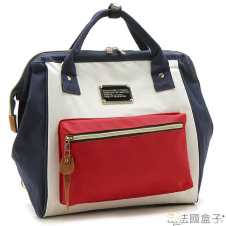 【法國盒子】韓系熱銷後背包(紅配藍)324