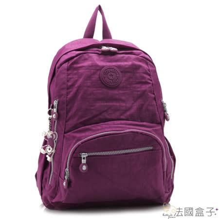 【法國盒子】輕量休閒多格層後背包(紫紅)986